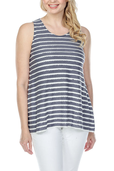 Tunic Top Stretchy Tiered Wave Fabric Sleeveless