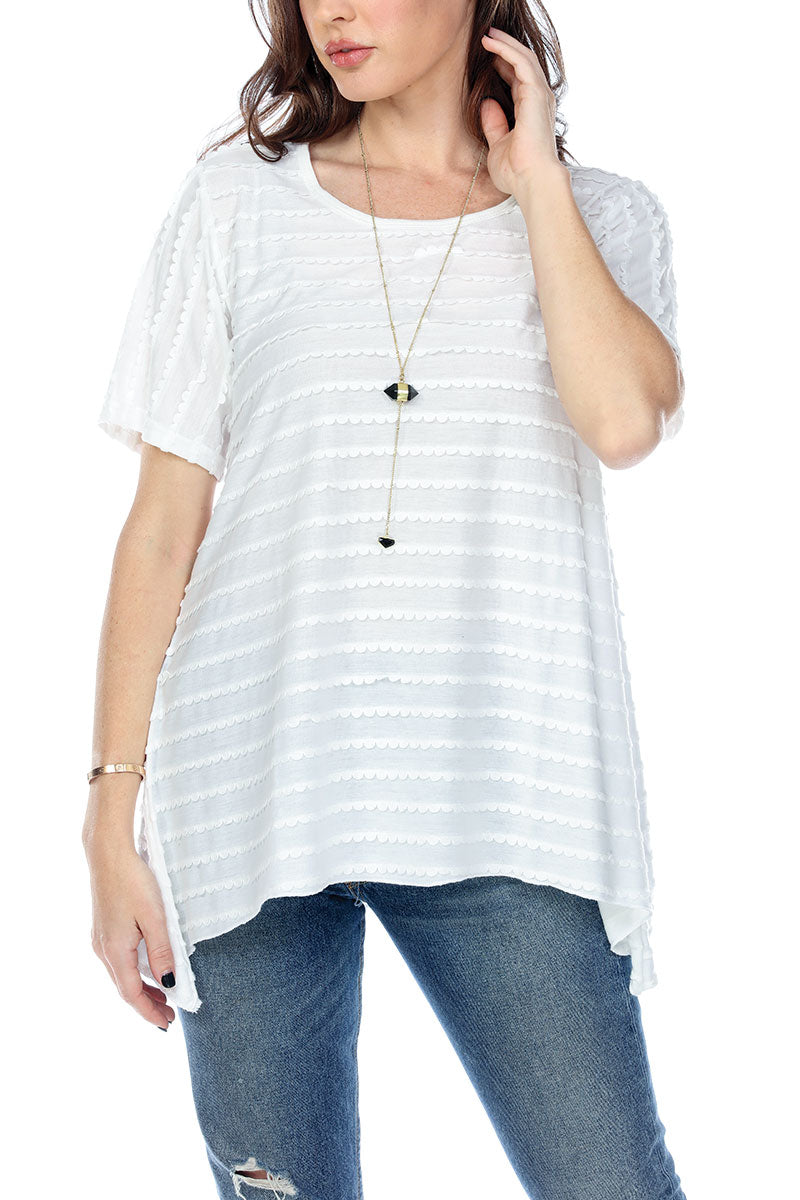 Top Tiered Wave Fabric Stretchy Short Sleeves
