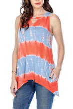 Top Striped Tie Dye Keyhole With Pockets
