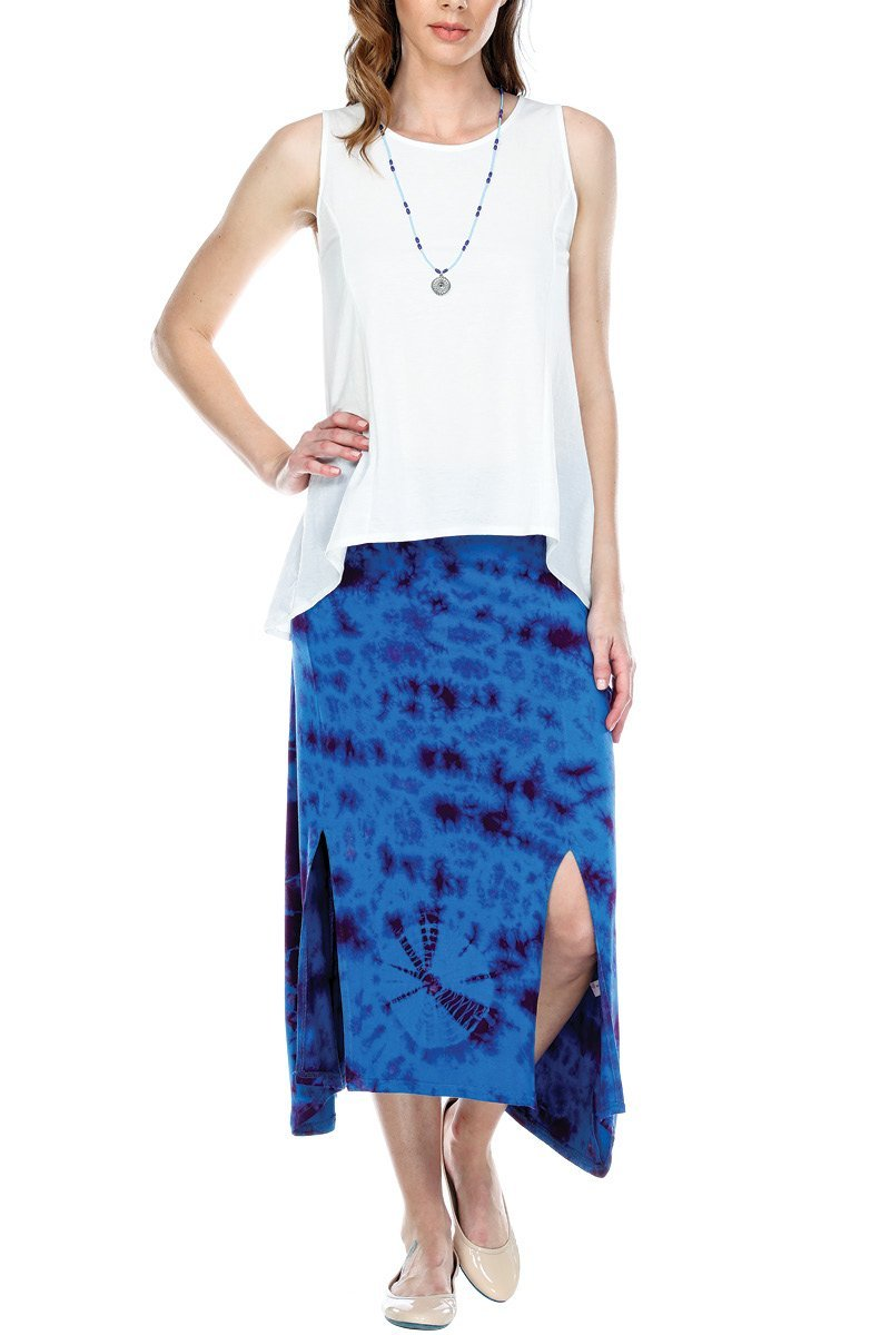 Skirt Tie Dye Double Slit Elastic Waistband