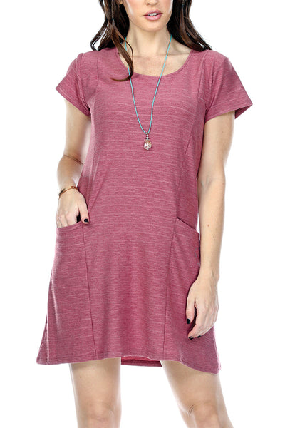 Dress Solid Color Two Front Pockets Scoop Neck Short Sleeves