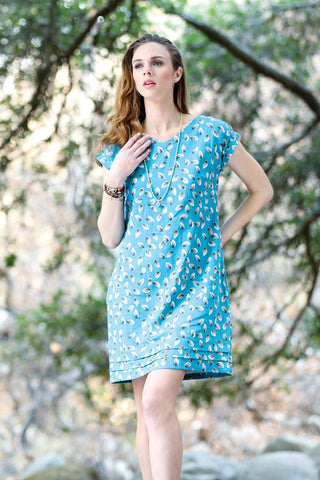 Shift Dress Leaf Print With Pockets