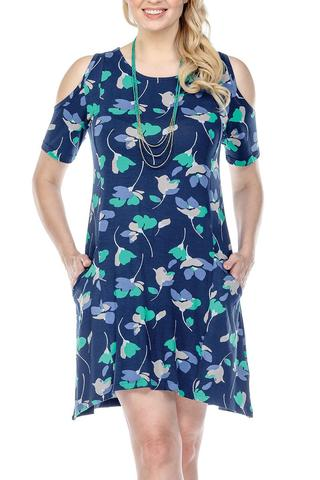 Dress Floral Cold Shoulder With Pockets