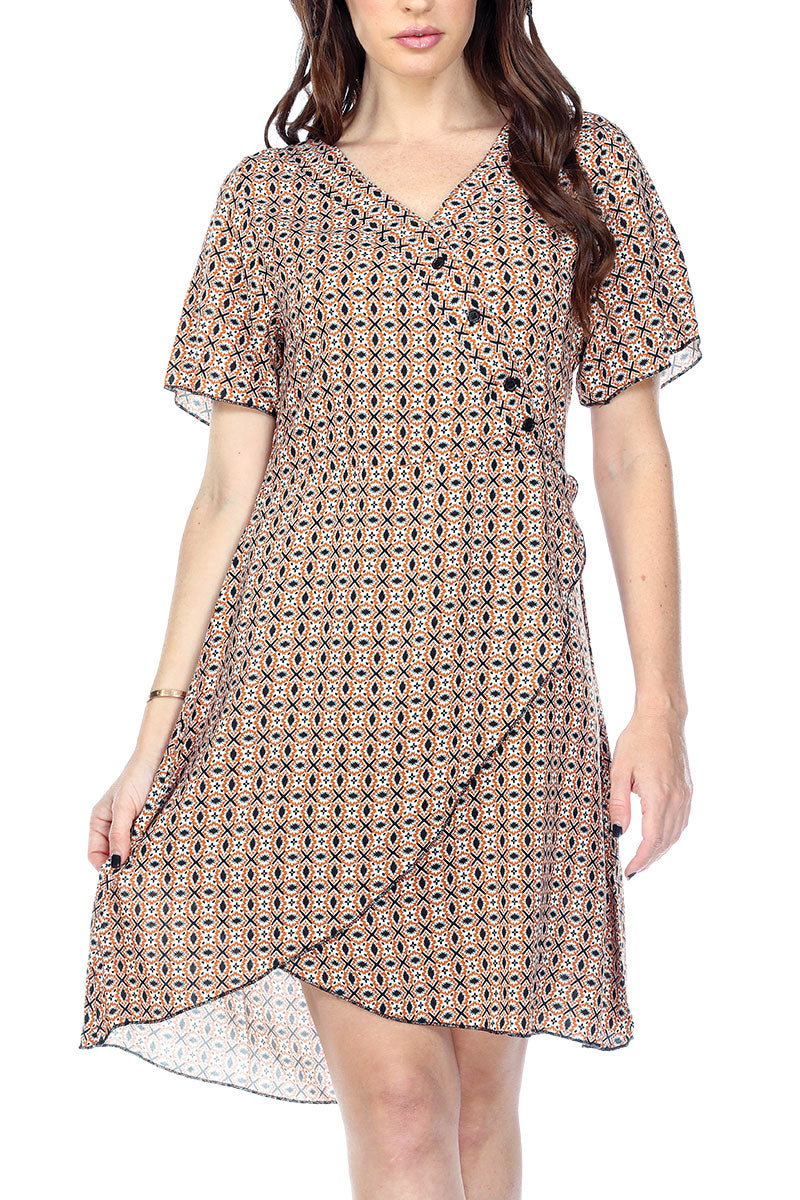 Dress Print Overlap V-Neck Decorative Buttons Flowy