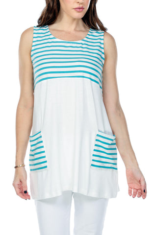 Top Striped Contrast Color Pockets