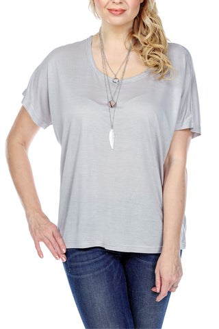 Top Loose Fit Dolman Sleeves Scoop Neck Solid Color