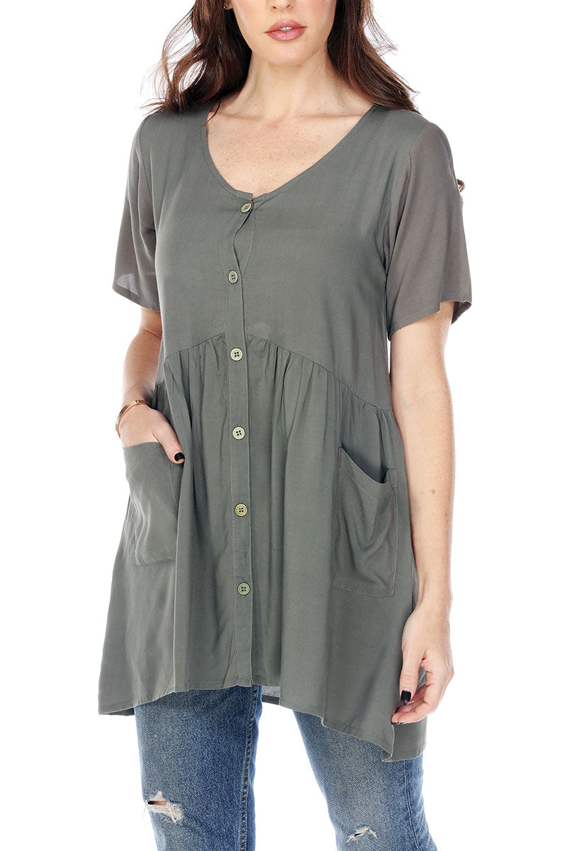 Tunic Button Up Ruffled Waist