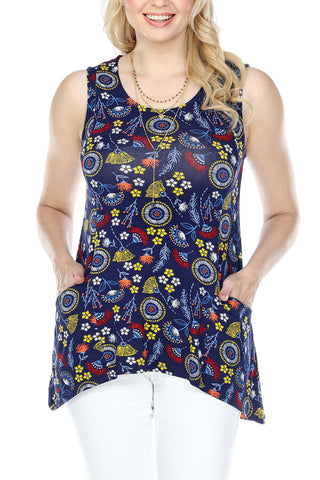Top Floral Two Front Pockets