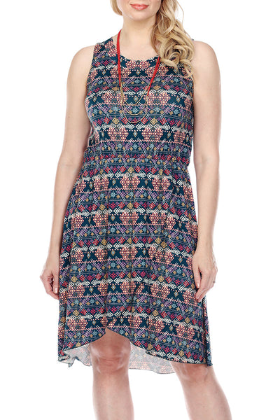 Dress Tribal Print Elastic Waist
