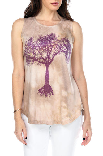 Top Tie Dye Tree Of Life Print