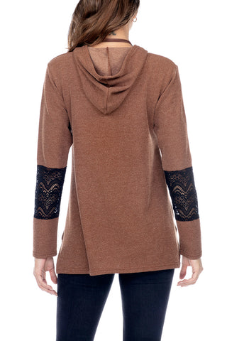 Hooded Pull Over Ribbed Lace Splice