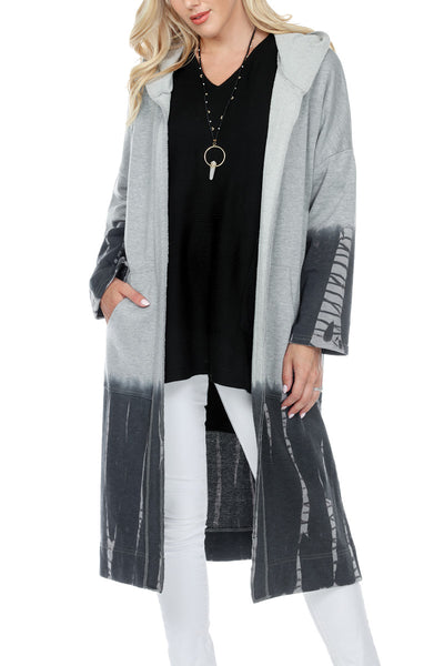 Long Hooded Cardigan Ombre Tie Dye