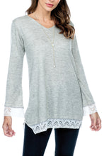 Tunic Top Lace Trim Side Slits