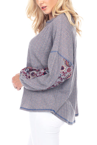 Top Ribbed Multidot Paisley Sleeves