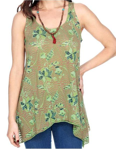 FLORAL PRINT BURNOUT TANK TOP