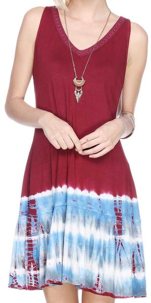 TIE DYE RUFFLED HEM DRESS