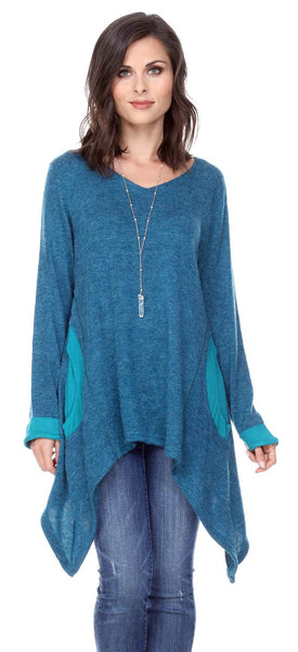 TUNIC SWEATER WITH POCKETS & BRACELET SLEEVES