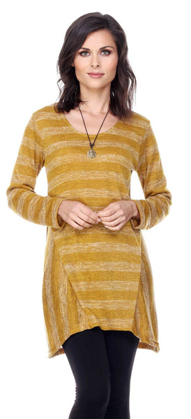 TWO TONE STRIPED LONG SLEEVE TUNIC