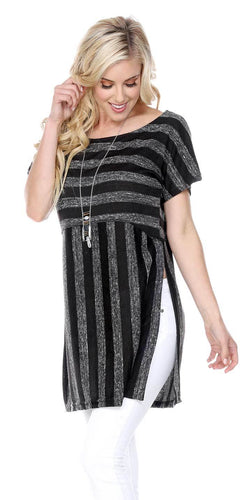 STRIPED TUNIC DEEP SIDE SLITS