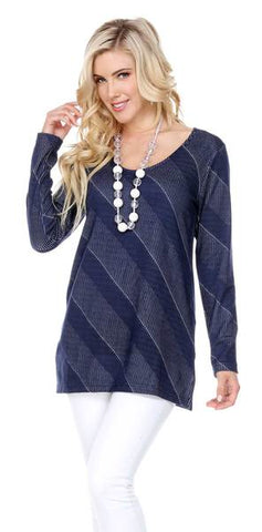 MIXED LINE PULLOVER TUNIC