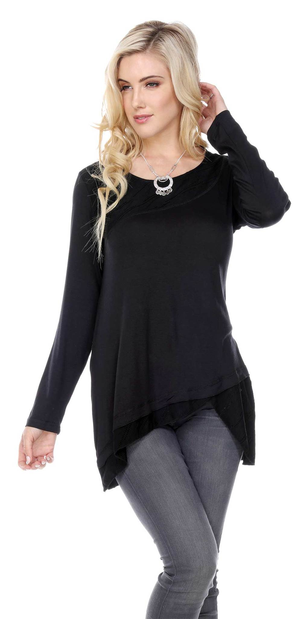 DOUBLE LAYER CROSS LINE TUNIC TOP