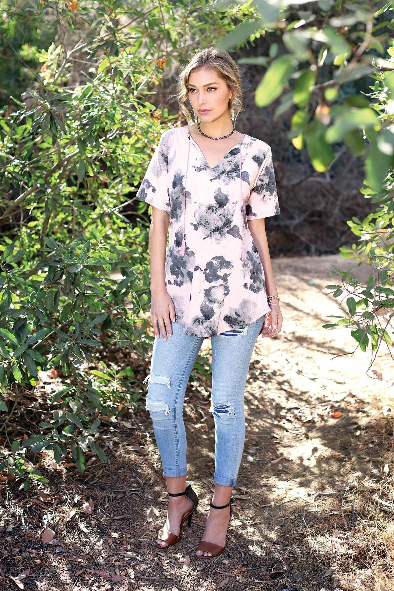 Floral Printed V Neck String Tunic