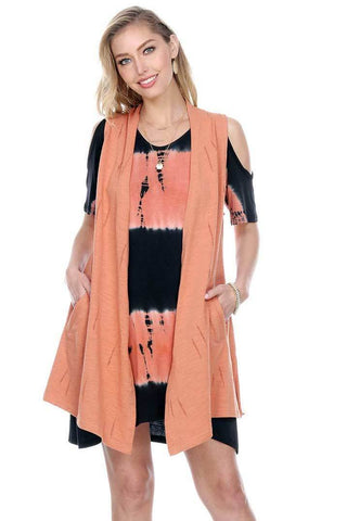 Women's Clothing | Woman's Contemporary Fashion | Over Cut Armhole Fringe Wrap