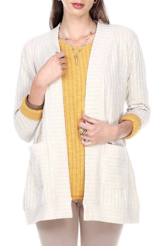 Cream Solid Cardigan With Front Pockets