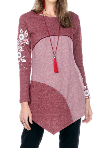 Two Tone Embroidery Point Hem Tunic