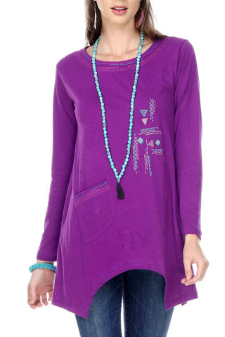 Purple Embroidery Tunic Top With A Side Pocket & Shark Bite Hem