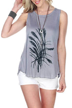 Soft Sleeveless Top Feathers Print