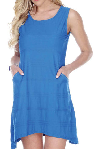 Women's Clothing | Woman's Contemporary Fashion | Plain Color Sleeveless Dress With Stitch Detail On Pockets
