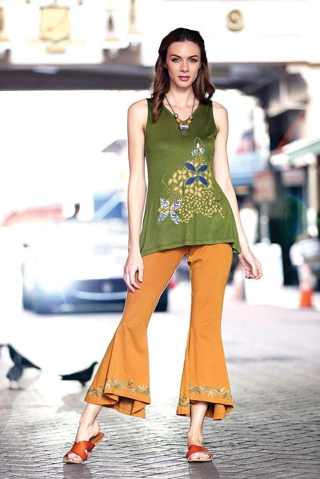 Bell Bottom Pants High-Low Hem Embroidery Design