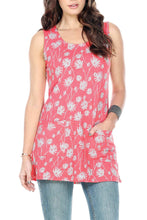 Sleeveless Floral Tunic Top With Pockets