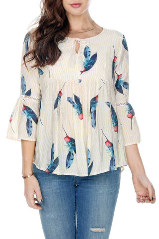 Blouse V Tie Neck Print Lace Detail On Sleeves