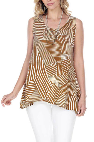 Women's Clothing | Woman's Contemporary Fashion | Geometric Striped Design Tunic Top