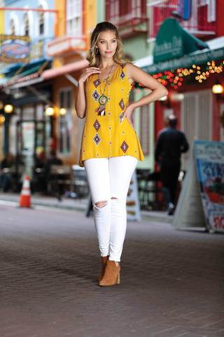 Women's Clothing | Woman's Contemporary Fashion | Ethnic Print Criss-Cross V-Neck Top
