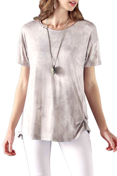 Soft Tie-Dye Top Loose Fit Side Knot Hand Stitch Detail On Neckline