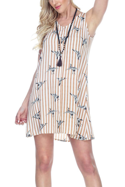 Button Up Tunic Dress Stripe Birds Design