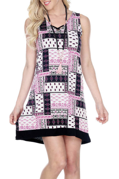 Women's Clothing | Woman's Contemporary Fashion | Criss Cross V- Neck Print Dress Hem Applique