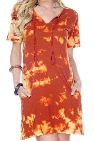Rust Tie Dye T-Shirt Dress With Pockets