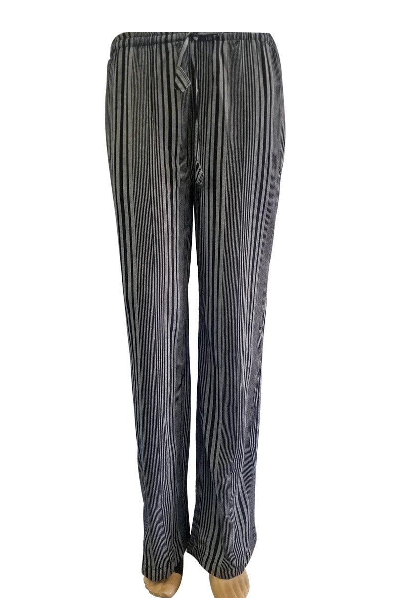 Striped Wide Leg Pants With Drawstring & Pockets