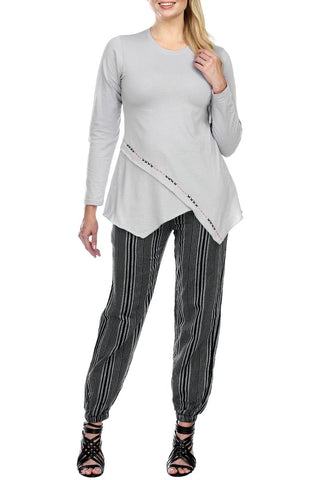 Striped Harem Jogger Lounging Cotton Pants
