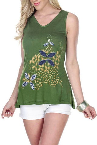 Women's Clothing | Woman's Contemporary Fashion | Floral Print Handstich Patch Design Tank Top