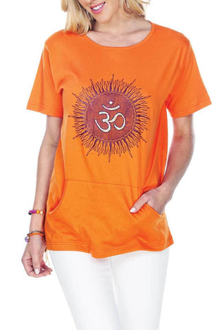 Women's Clothing | Woman's Contemporary Fashion | Embroidery Om T-Shirt With Front Pocket