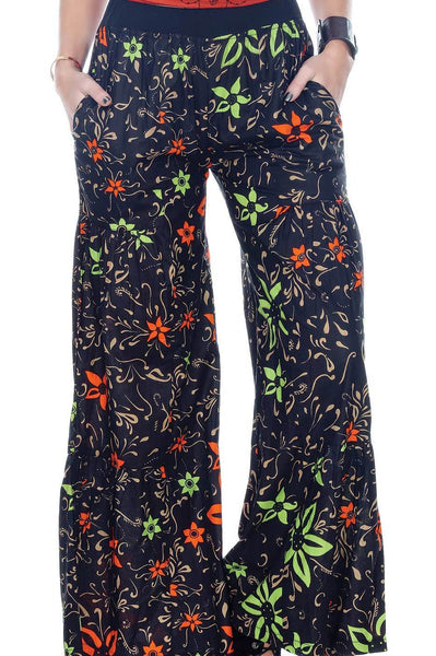 Floral Boho Elastic Waist Bell Bottom Pants