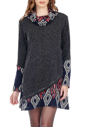 Sweater Dress Cowl Neck Print Handstitch Details