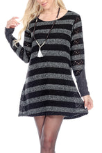 Stripe Round Neck Knit Dress With Lining