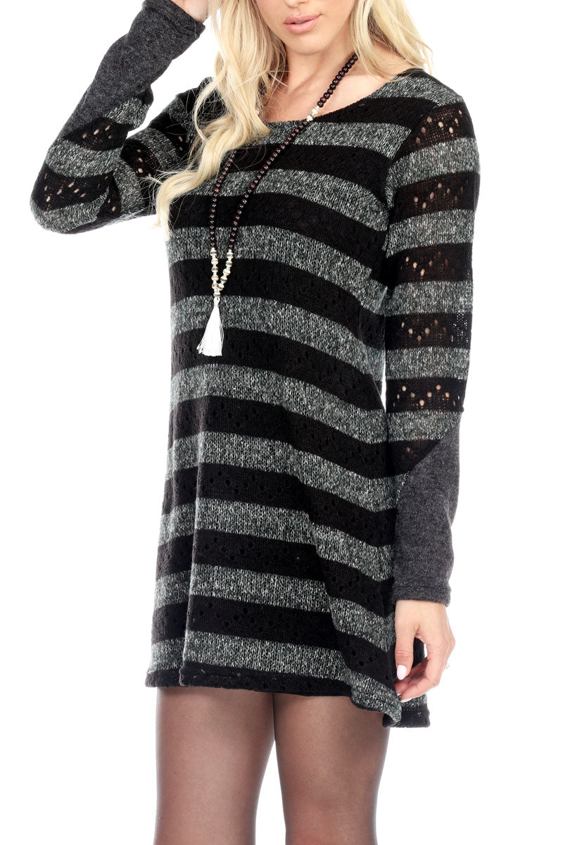 Stripe Knit Dress With Lining