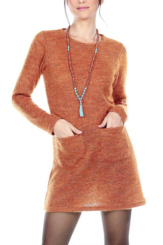 Cozy Knit Tunic Top With Patch Pockets